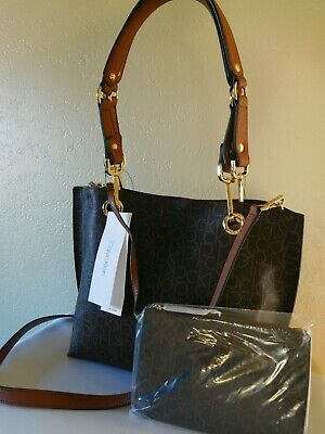 2c75c969d6 New Calvin Klein Reversible Brown Monogram Signature Satchel Crossbody Bag
