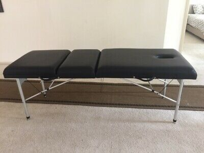 Portable massage table with liftup backrest, aluminium frame & legs, adj height