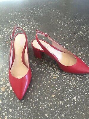 Lovely Red Mid- Heel Leather Sling Backs Never Worn