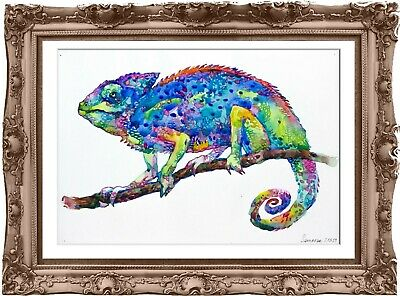 original painting chameleon aquarelle 177RM watercolor  signed A4