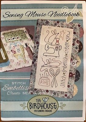 Sewing Mouse Needlebook Kit - Birdhouse Patchwork Design -