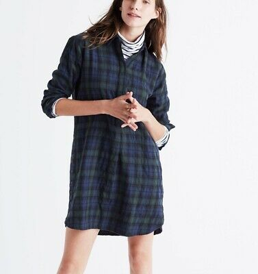 551f057ce Madewell Sz M Flannel Side button Shirt Dress Green Plaid Above Knee