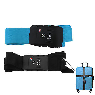 Black Tsa Approved Lock Luggage Straps Suitcase Strap Travel Cross Belt
