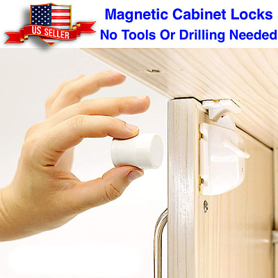 Child Safety Cabinet Locks, Magnetic Drawer Cupboard Baby Proofing Locks Set 3M