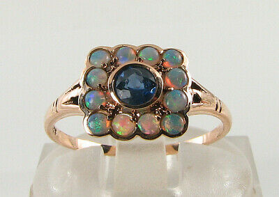 DAINTY 9K 9CT ROSE GOLD BLUE SAPPHIRE AUS OPAL ART DECO SQUARE INS RING FREE Sz