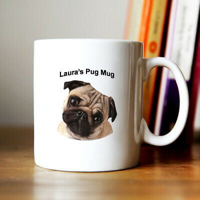 Personalised name with cute Pug coffee Mug gift for dog lover
