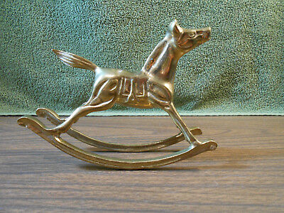 """Vintage Collectible Solid Brass 6"""" Rocking Horse Pony Statue Figurine"""