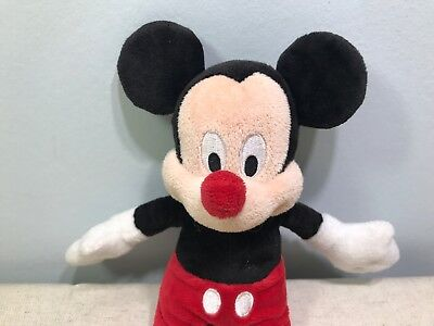 """Disney Store Red Nose Day Comic Relief 8"""" Mickey Mouse Beanie Soft Toy Plush"""