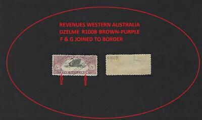 "WESTERN AUSTRALIA REVENUE 5/- BROWN-PURPLE ""F & G"" JOINED @ BORDER DZEL R100BV7a"