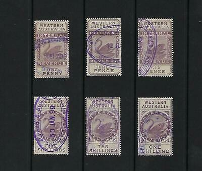 WESTERN AUSTRALIA 1881-1896  INTERNAL REVENUE SELECTION 1d TO 10/- (6)