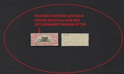 WESTERN AUSTRALIA REVENUE 10/-  ROSE-RED ORNAMENT MISSING DZEL R101B V1a