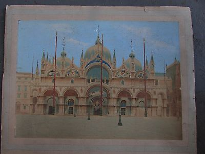 Antique Hand Coloured Photograph San Marco Basilica Cathedral Venice