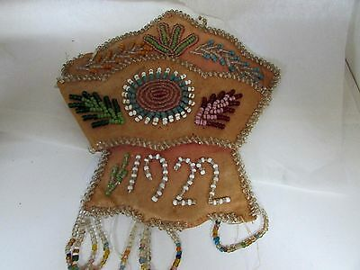 Antique Beaded Embroidery Handy Work 1922 Flora Soloman Cloth Wall Pocket