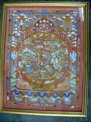 Original Hand Painted Tibetan Watercolour Painting Wheel Of Life-  Fine Detail