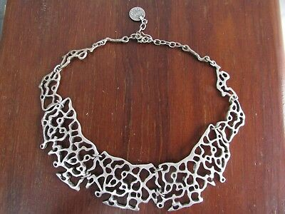 Antique Filigree Ornate Fretwork Lace Necklace Ottoman Silver Coin Eastern Arab