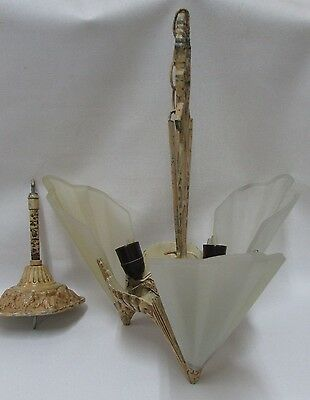 Art Deco Large 3 Slip Shade Chandelier Light Fitting Cast Frame Vintage