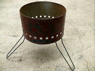 Vintage Aboriginal Painting Motif Camp Bbq Tin Drum Folding Plant Stand Retro