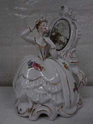 Lovely Porcelain Boudoir Statue Lady In Front Of Mirror Dresden Volksted ?