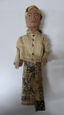 Vintage Wooden Asian Doll Figurine  - Hand Carved Painted Clothes Java Burma