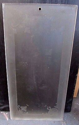 Antique Etched Glass Victorian French Door Pane Panel Salesmans Sample #5