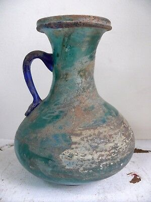 Antique Persian Glass Oil Water Jug Ancient Roman Middle Eastern Pitcher