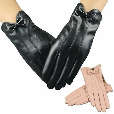 Ladies Women Warm Sceen Touch Sheepskin PU Leather Gloves Lining Driving Winter