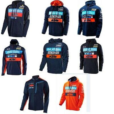 KTM Team Long Sleeve Hoodie Sweatshirt Pullover Shirt Motocross Men's Jersey Zip