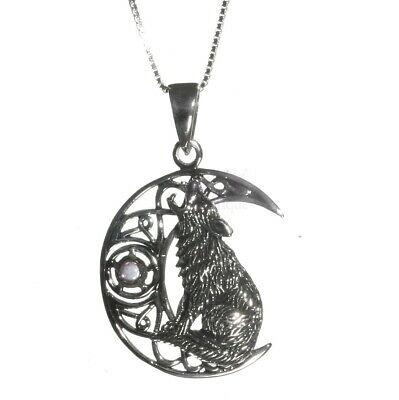 Lisa Parker Sterling Silver 925 with Cabochon Stone Wolf Moon Pendant Necklace