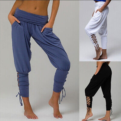 Ladies Women Loose Solid Color Large Size Casual Summer Wide Leg Pants N7
