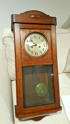 1930s  Gustav Becker Art Deco Oak Cased Wall Clock
