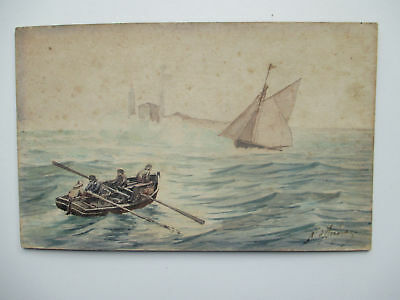 Maritime sea view painting watercolor on Whatman board early 20th century