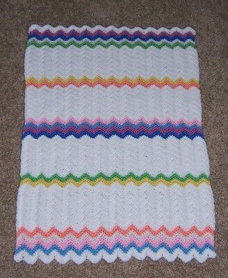 Handmade Crochet Baby Afghan Doll Blanket Car Seat Cover White
