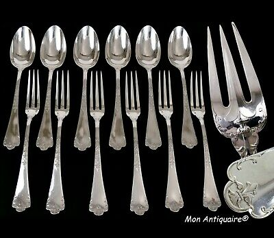PUIFORCAT FER DE LANCE Antique French Sterling Silver Luncheon set Flatware Set