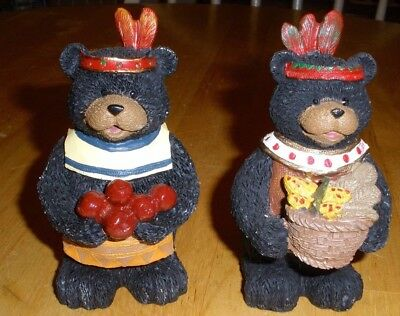 Lot Of 2 - Hand Painted Resin Thanksgiving Bears