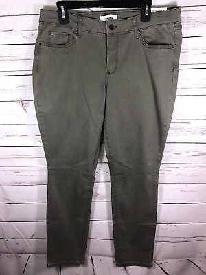 NEW Sonoma Supersoft Stretch Skinny Jeans Olive Green Size 16 Mid Rise