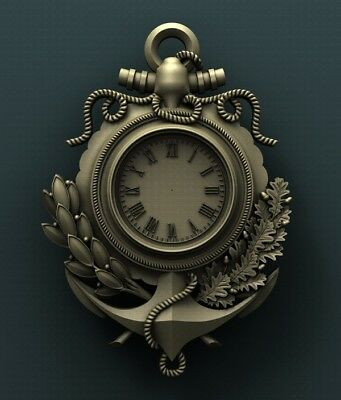 3d STL Model Relief for CNC Router  _ (0181) Anchor Clock