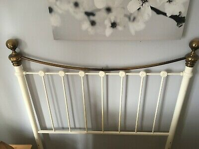 double metal headboard, cream and brass colour, good condition, used
