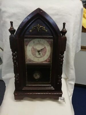 (385)   Wooden Mantle Peice Clock Made By W.nichols Of Birmigham Quartz Movement