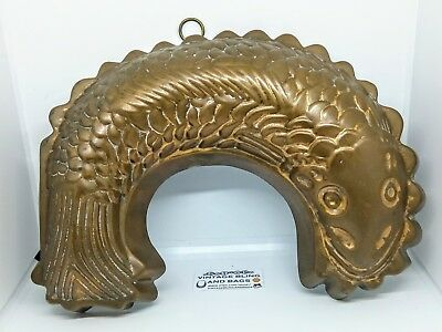 Antique vintage TIN LINED COPPER JELLY MOULD terrine eel fish kitchenalia retro