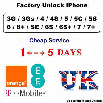 UNLOCK SERVICE FOR iPhone 7 7 Plus 6S 6S Plus 6 SE 5S 5C 5 EE ORANGE T-MOBILE UK