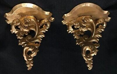 Antique Gold Florentine Rococo Pair of Decorative Wall Shelves A4