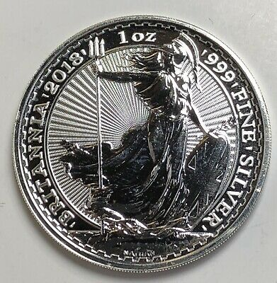 2018 Great Britain 1 oz Silver Britannia Coin Bullion Round