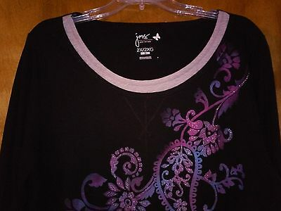9af98fab JMS 2X (18W-20W) Blue Purple Paisley Floral Glitter Long Slv Layered Look