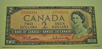 1954 Bank of Canada $2 T/R Beattie/Rasminsky Banknote Unc