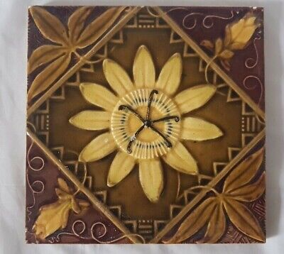 Aesthetic Sunflower Design English Majolica Victorian Tile 19Th C