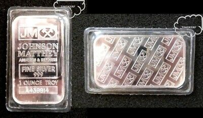 Johnson Matthey  Jm  1 Troy Oz  {Bu - Unc} .999 Fine Silver Bullion - Sealed Bar