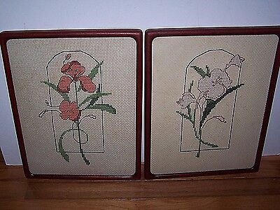 Vintage Pair Framed Cross Stitch Botanical Arts Crafts Style Iris Lilly Floral