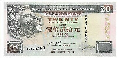 HONG KONG 20 Dollars Banknote World Currency Money UNC BILL Asia p285b SCB Note