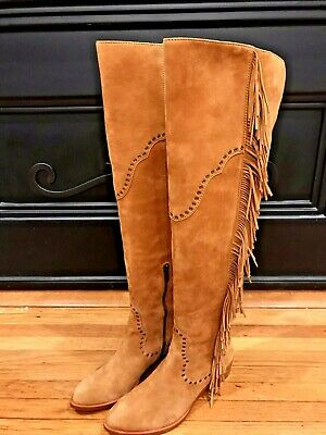 936f5193ee2 New Frye Women s Ray Fringe Over The Knee Slouch Leather Boots Camel Brown  6.5