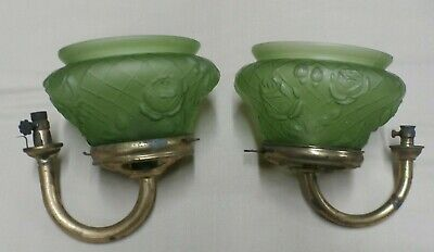 Pair of Vintage Antique Gas Light Wall Fixtures with Glass Globes